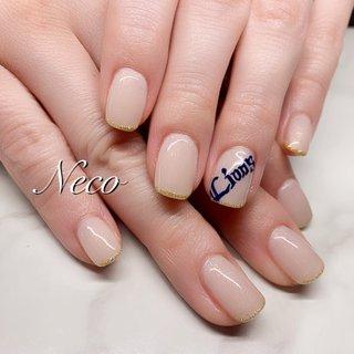 #ハンド #ラメ #ワンカラー #ベージュ #ジェル #お客様 #nail salon Neco #ネイルブック