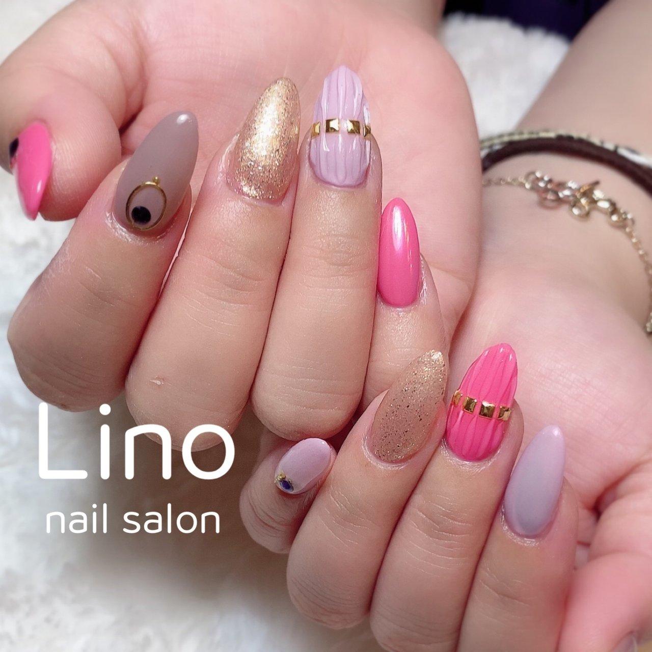 ピンクネイル💅🏻  #ピンク#春カラー #オールシーズン #ハンド #シンプル #ロング #ピンク #グレージュ #ジェル #お客様 #Lino #ネイルブック