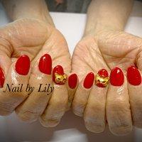 #ワンカラー #赤#猫#シンプル #LILY #ネイルブック
