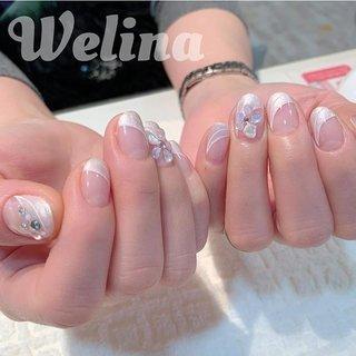 今月のNo. 1 nail★ パールは単色より部分的が人気です  #nails #Welina #ネイルブック