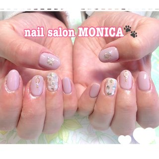 シェルがかわいいネイル💅😻 #シェル #オールシーズン #ピンク #nail salon MONICA 🐾 #ネイルブック