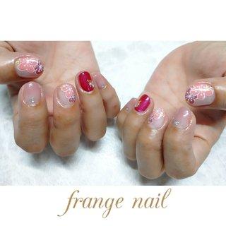 #梅の花ネイル #春 #ハンド #フラワー #ピンク #ジェル #お客様 #frange nail #ネイルブック