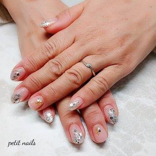 #ハンド #ラメ #クリア #ピンク #ジェル #お客様 #petit_nails -プチネイルズ- #ネイルブック