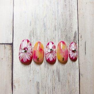 #サンプル #春ネイル #フラワーネイル #ピンクネイル #ニュアンスネイル #ビビッドネイル #ジェルネイル #ジェル #ネイル #長久手 #長久手ネイル #ネイルルームスーベニア #春 #ハンド #ラメ #フラワー #ニュアンス #nail room souvenir #ネイルブック