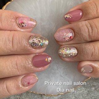 #春 #卒業式 #入学式 #ハンド #ラメ #ワンカラー #シェル #Private nail salon Dia nail #ネイルブック