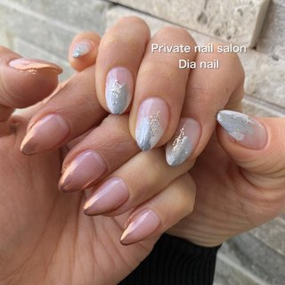 #秋 #冬 #ハンド #グラデーション #ニュアンス #ミラー #Private nail salon Dia nail #ネイルブック