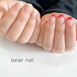 アシメフレンチネイル💅 赤とクリームイエローが可愛すぎる💗 #tenernail #テネルネイル #tener_nail #nail #nails #gelnail #ネイル #シンプルネイル #nailstagram #オフィスネイル #ネイルブック #美甲設計 #japan #東京 #新宿ネイルサロン#新宿 #ジェルネイル #네일#신주쿠 #ネイルデザイン#お子様連れok #フレンチネイル #ブライダルネイル アシメネイル #春ネイル #春 #オールシーズン #オフィス #ブライダル #ハンド #シンプル #フレンチ #ショート #クリア #レッド #イエロー #ジェル #お客様 #テネルネイル tener nail #ネイルブック