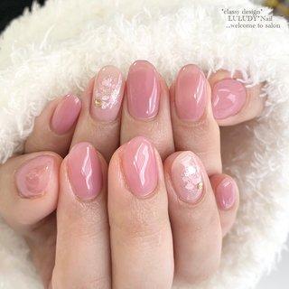 ピンクの花びらの様なネイル✨ #春 #夏 #オールシーズン #オフィス #シンプル #ワンカラー #ピンク #luludynail #ネイルブック