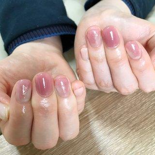 #オールシーズン #オフィス #デート #女子会 #ハンド #ニュアンス #ピンク #パープル #nail.leaf【リーフ】 #ネイルブック