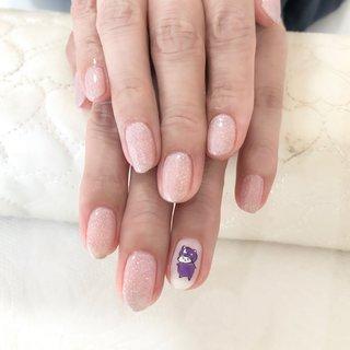 #ハンド #ラメ #ホワイト #ピンク #パープル #お客様 #小山美香 #ネイルブック