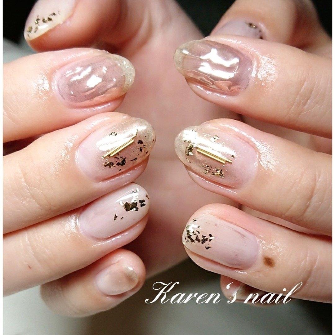 2月グランコースデザイン カラーチェンジして #春 #冬 #オフィス #パーティー #ハンド #ニュアンス #ミラー #ミディアム #グレージュ #ゴールド #ジェル #お客様 #karen's nail rierin #ネイルブック