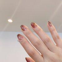 #newnail #右手はやりにくい #カラーリキッドネイル #ハンド #ニュアンス #ショート #ブラウン #ジェル #セルフネイル #mem. #ネイルブック