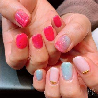#ハンド #ラメ #ピンク #レッド #水色 #いっこ #ネイルブック