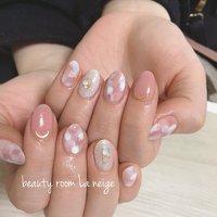 #春 #ハンド #シンプル #ラメ #ミディアム #ホワイト #ピンク #ジェル #お客様 #beauty room La neige #ネイルブック