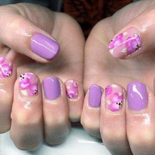#春ネイル #春 #ハンド #ピンク #パープル #ジェル #お客様 #nail_charmant #ネイルブック