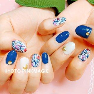 #ピンクマジック は京都市右京区西院のネイルサロンです。  #フットネイル #おしゃれネイル #西院ネイルサロン #秋ネイル #シンプルネイル#春ネイル #ハンド #フラワー #ミディアム #レッド #イエロー #ブルー #ジェル #お客様 #Pinkmagic♡miki #ネイルブック