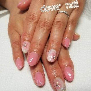 #ピンク #たらしこみフラワー #あきんこ #ネイルブック