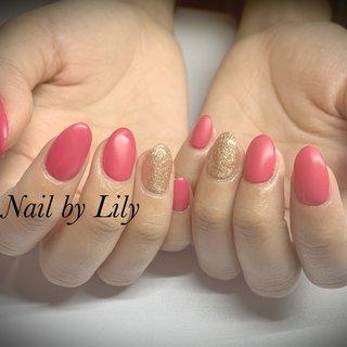 #シンプル#マット#ラメ#ピンク #LILY #ネイルブック