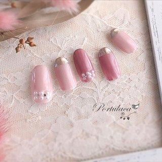 .ミラーフレンチネイル🧥🐷🌷 . . . くすみピンクでやわらかい感じだけど、ミラーで少しシャープに☺︎ . . いつもありがとうございます♬ . . . #大人可愛い#冬ネイル #春ネイル #パールネイル #ミラーネイル #くすみピンク#ダスティピンク#桜ピンク #ミラー #ピンク #メタリック #Portulaca #ネイルブック