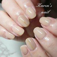 ヌーディーベージュ #karen's nail rierin #ネイルブック