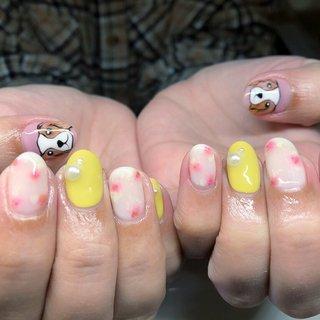 #オールシーズン #ハンド #ホワイト #ピンク #イエロー #ジェル #お客様 #nail_charmant #ネイルブック