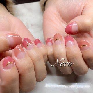 #ハンド #フレンチ #ピンク #オレンジ #ジェル #お客様 #nail salon Neco #ネイルブック