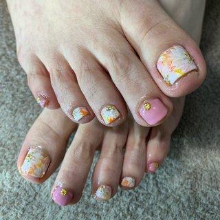 #春 #フット #フラワー #ショート #ピンク #オレンジ #イエロー #ジェル #お客様 #Sachi0511 #ネイルブック