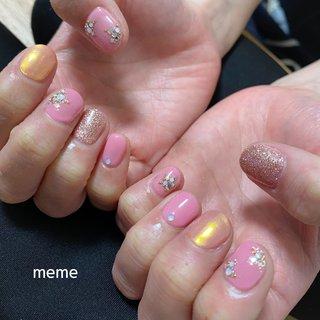 #ピンク #星ネイル #ミラーネイル #オールシーズン #ハンド #星 #ミラー #ピンク #ゴールド #ジェル #お客様 #meme #ネイルブック
