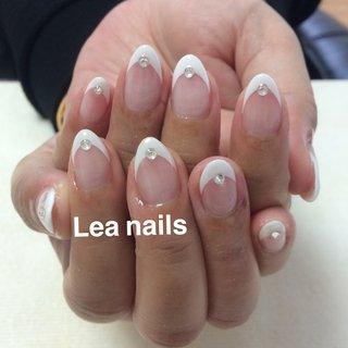 #オールシーズン #ハンド #シンプル #フレンチ #ホワイト #ジェル #お客様 #Lea_nails #ネイルブック