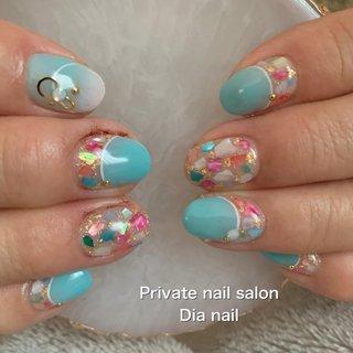 #春 #夏 #ハンド #フレンチ #グラデーション #ラメ #シェル #Private nail salon Dia nail #ネイルブック