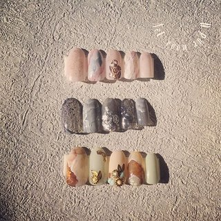 New parts!! New nails!! #オールシーズン #旅行 #ハンド #ネイティブ #ボヘミアン #エスニック #大理石 #ニュアンス #ベージュ #ピンク #ブラウン #NANARS #ネイルブック