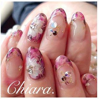 *  flowernails💍♡     Instagram → yochan4.nail #春 #秋 #オールシーズン #フレンチ #変形フレンチ #フラワー #タイダイ #ピンク #ボルドー #YokoShikata♡キアラ #ネイルブック