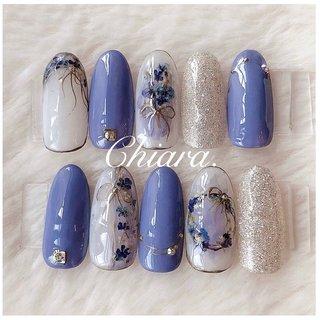 *   春夏サンプルより💍♡     Instagram → yochan4.nail #春 #夏 #オールシーズン #フラワー #アンティーク #押し花 #リボン #ブルー #パープル #YokoShikata♡キアラ #ネイルブック