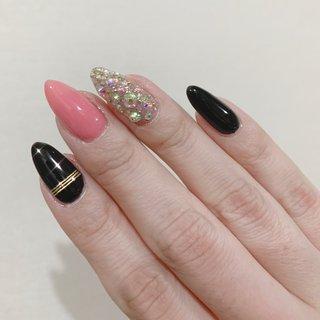 #ピンク #ブラック #ライン #nb1740e5504c1c #ネイルブック