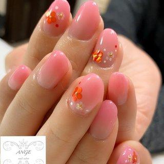 #春 #デート #女子会 #ハンド #グラデーション #ピンク #ジェル #お客様 #La angenail #ネイルブック