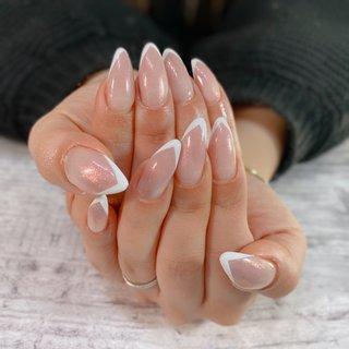 #ハンド #シンプル #フレンチ #ホワイト #ジェル #Luna nail〜aiko〜 #ネイルブック