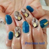 #ハンド #ワンカラー #アニマル柄 #ブルー #ネイビー #ブラウン #precious_nail315 #ネイルブック