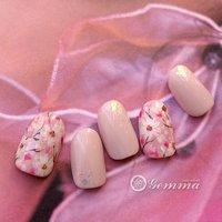 桜ネイル #春 #ハンド #フラワー #ピンク #ジェル #Gemma #ネイルブック