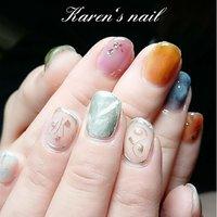 アシンメトリーネイル #karen's nail rierin #ネイルブック