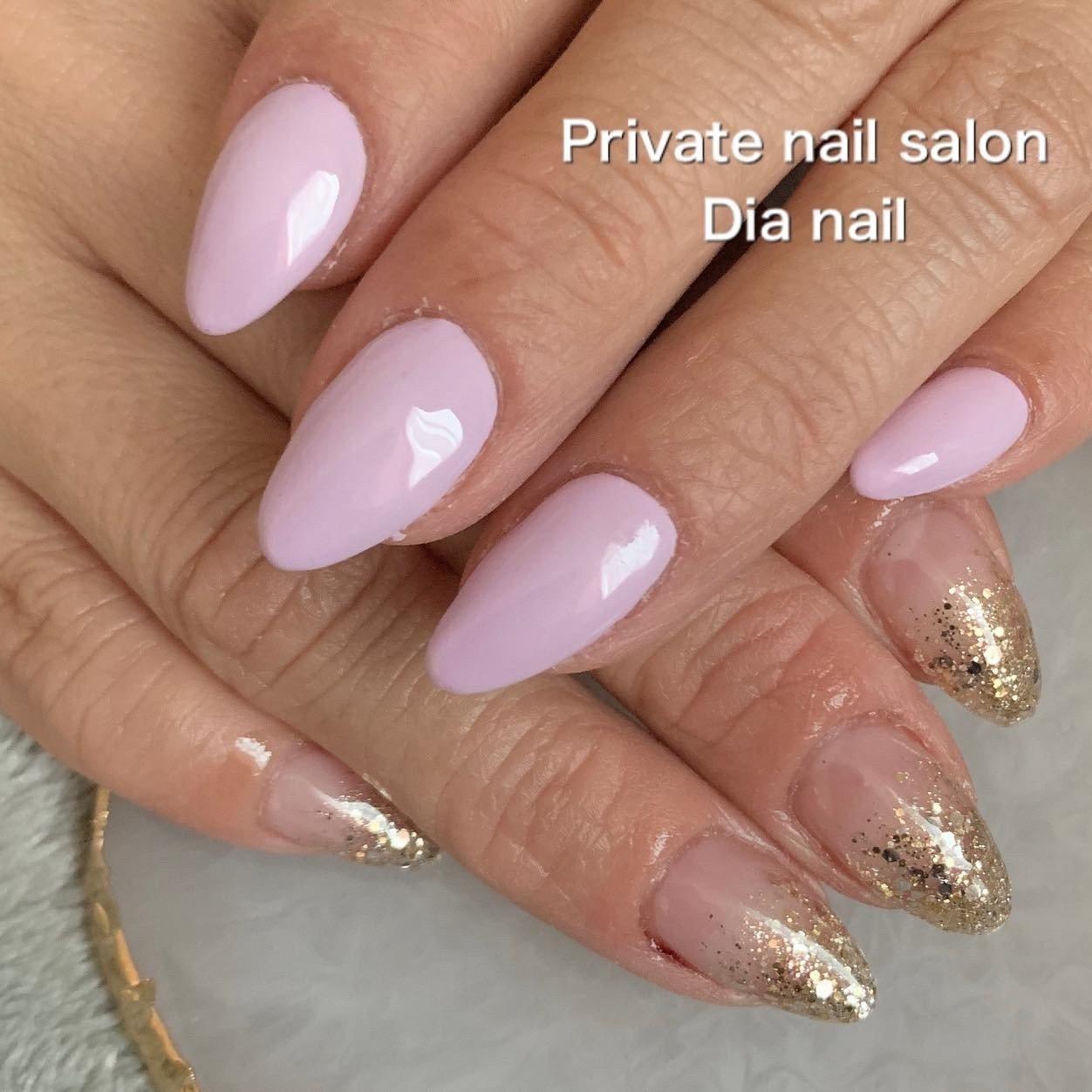 #春 #ハンド #グラデーション #ラメ #ワンカラー #Private nail salon Dia nail #ネイルブック