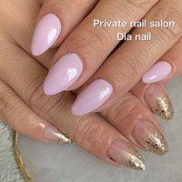 #春 #ハンド #ラメ #ワンカラー #グラデーション #Private nail salon Dia nail #ネイルブック
