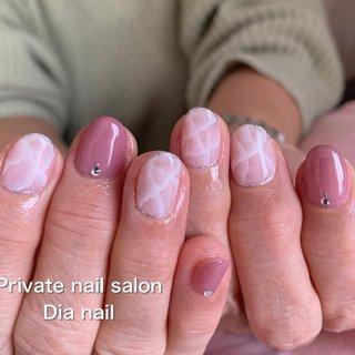 #春 #秋 #ハンド #ワンカラー #大理石 #Private nail salon Dia nail #ネイルブック