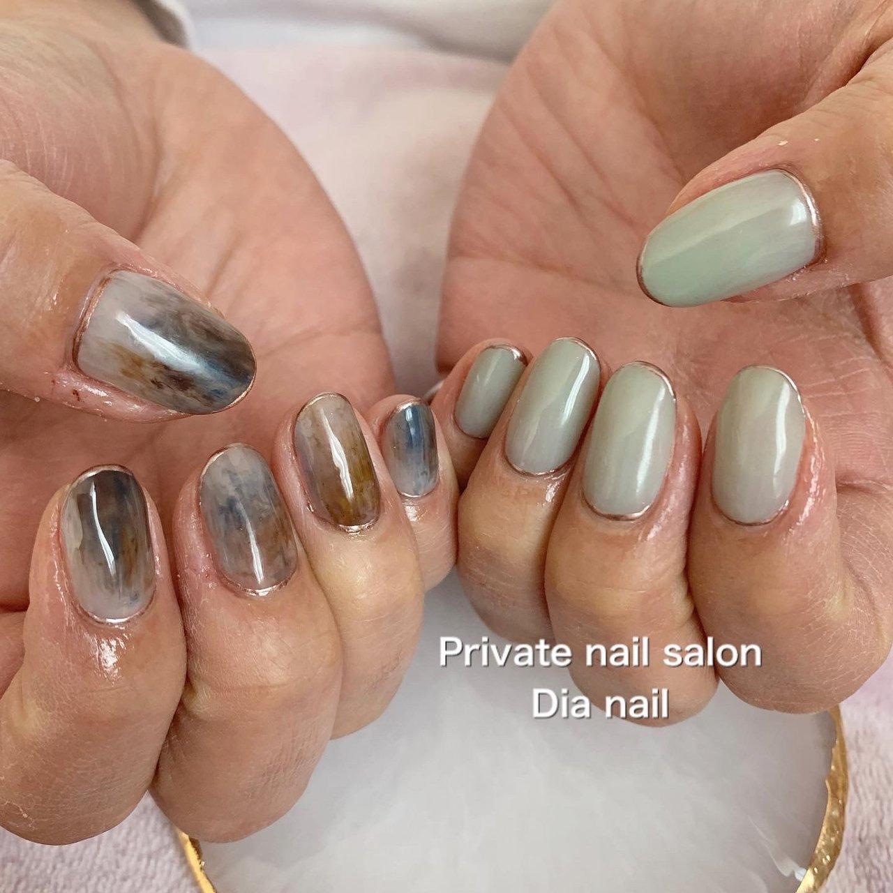 #春 #秋 #冬 #ハンド #グラデーション #ワンカラー #ニュアンス #Private nail salon Dia nail #ネイルブック