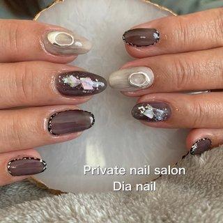 #秋 #冬 #ハンド #ワンカラー #シェル #ニュアンス #Private nail salon Dia nail #ネイルブック