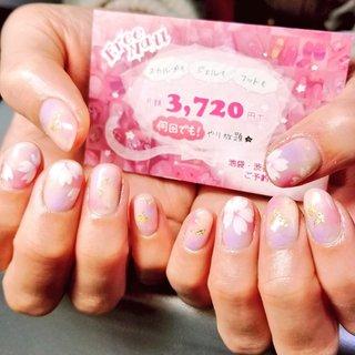 #桜#春#ピンク#手描き#花 #freenail2012 #ネイルブック
