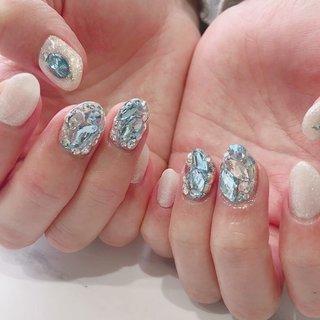 #ビジューネイル#冬ネイル #アナ雪ネイル#キラキラ #ange nail salon #ネイルブック