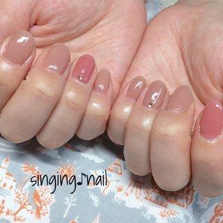 ちゅるんとカラーで軽い指先🦋✨ありがとうございましたありがとう#ちゅるんカラー#春ネイル#オフィスネイル#フィルイン一層残し #mihonailmiho #ネイルブック