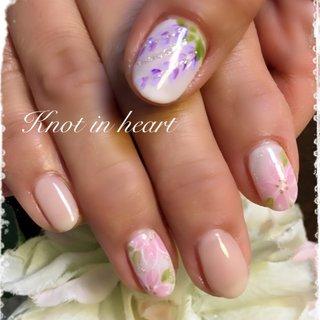 #ふじ#桜 #春 #ハンド #knot in heart #ネイルブック
