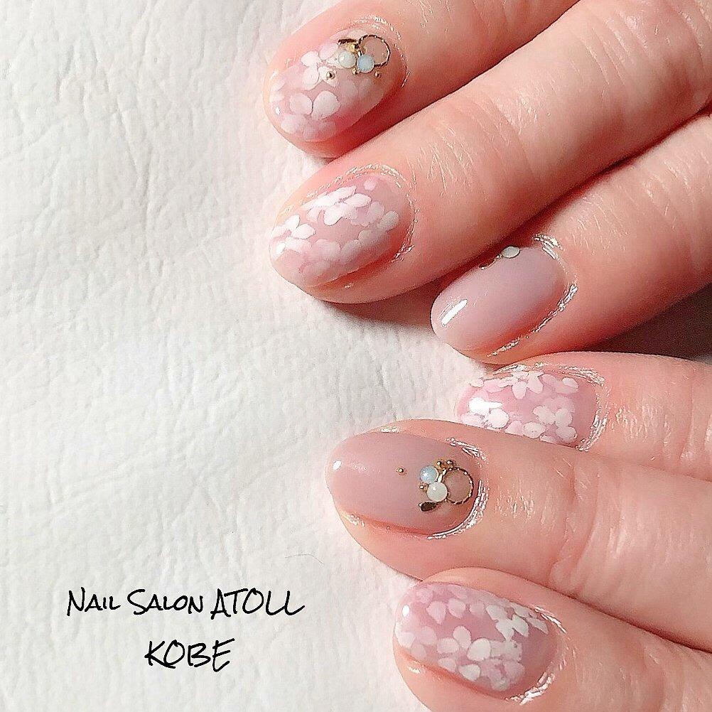 ふんわりサクラネイル🌸 #春 #ハンド #フラワー #ショート #ピンク #ジェル #お客様 #アトール✳︎神戸六甲 #ネイルブック