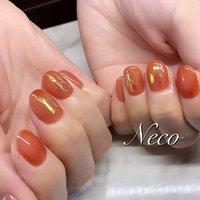 #ハンド #ワンカラー #オーロラ #ワイヤー #オレンジ #ジェル #お客様 #nail salon Neco #ネイルブック